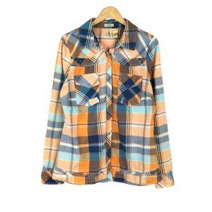 BUCKLE BKE | Blue & Orange Plaid Embellished Shirt
